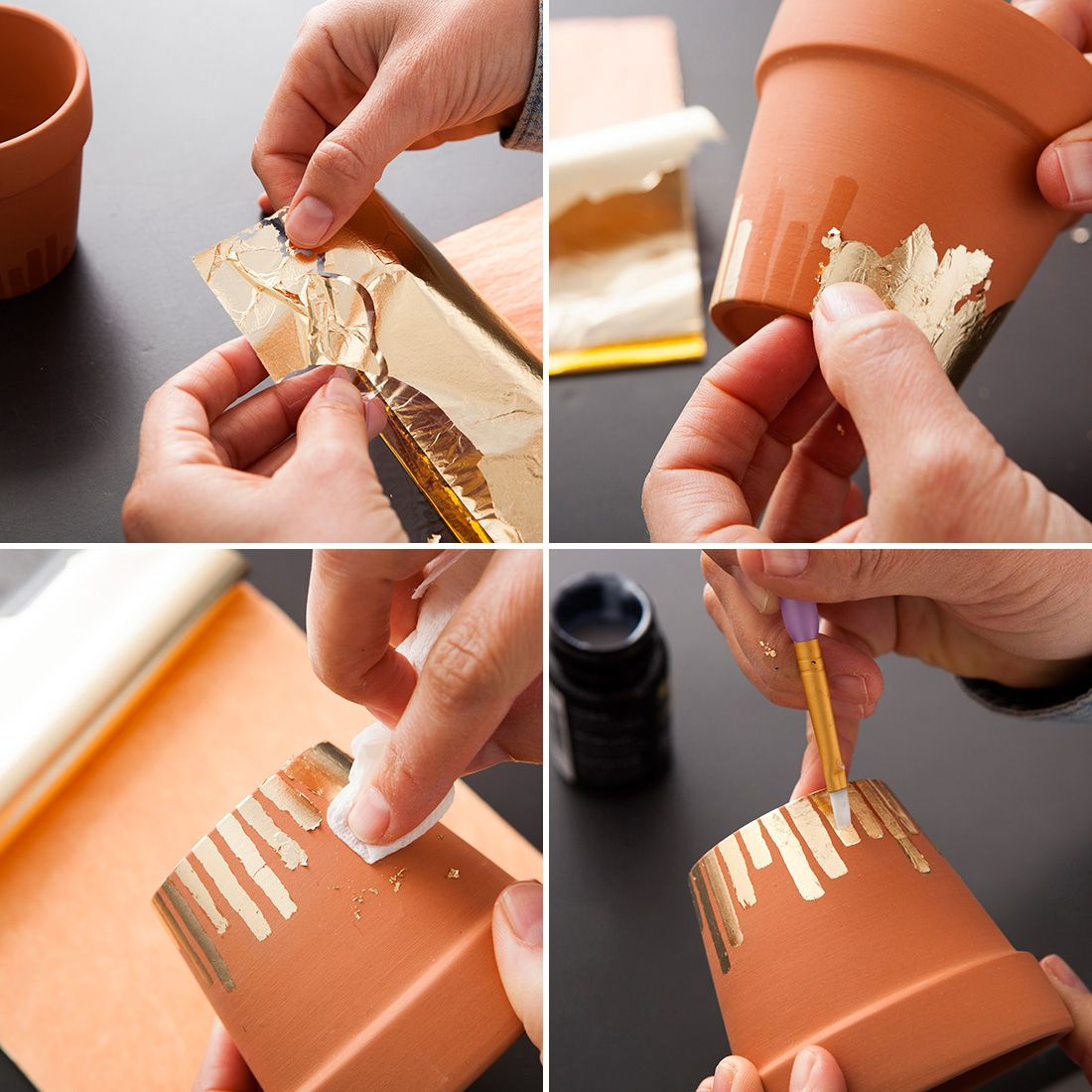 Use gold leaf to deck out flower pots with this step by step tutorial.