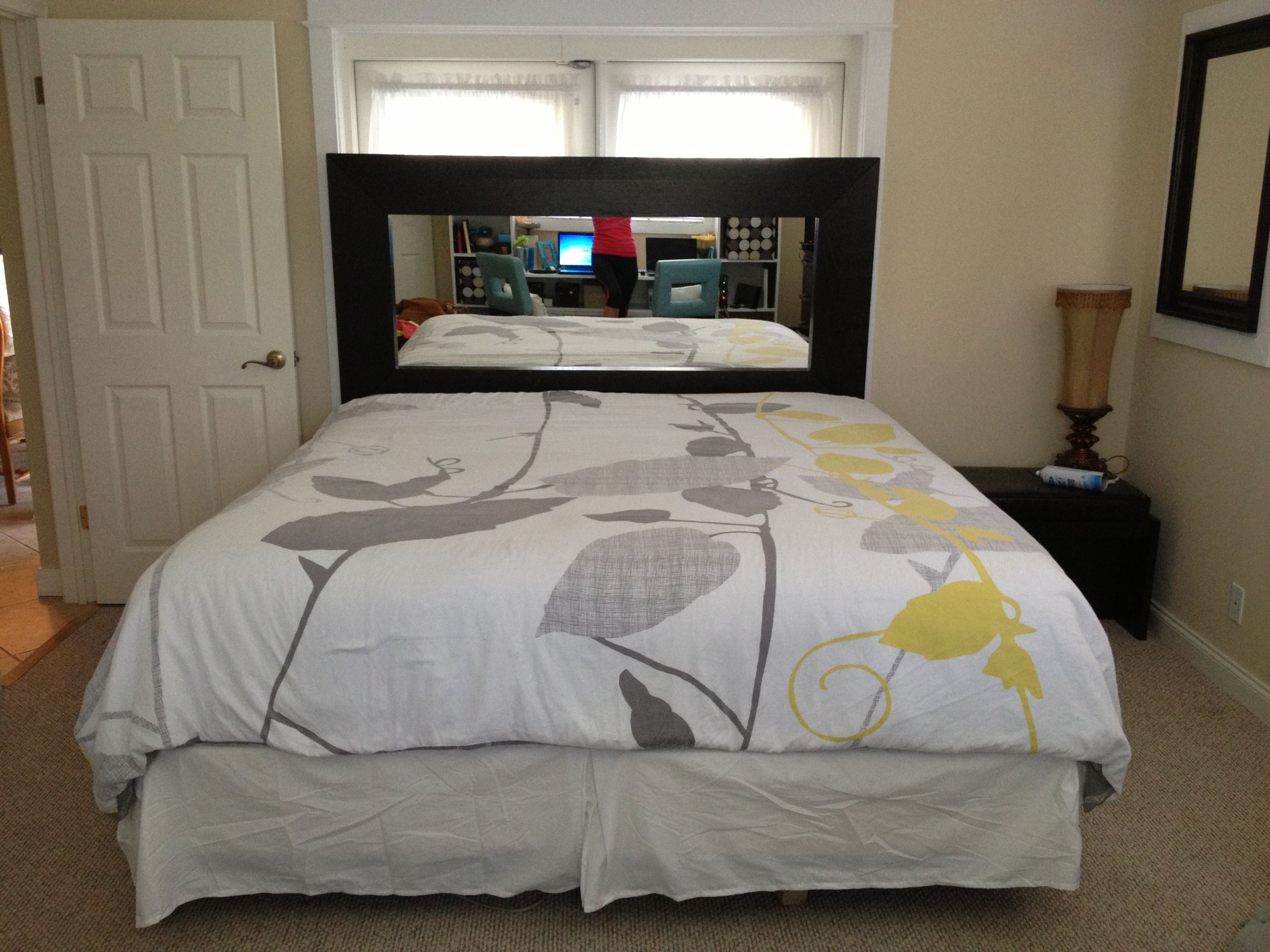 Diy headboard using large mirror from ikea for a king size for Queen bedroom ideas