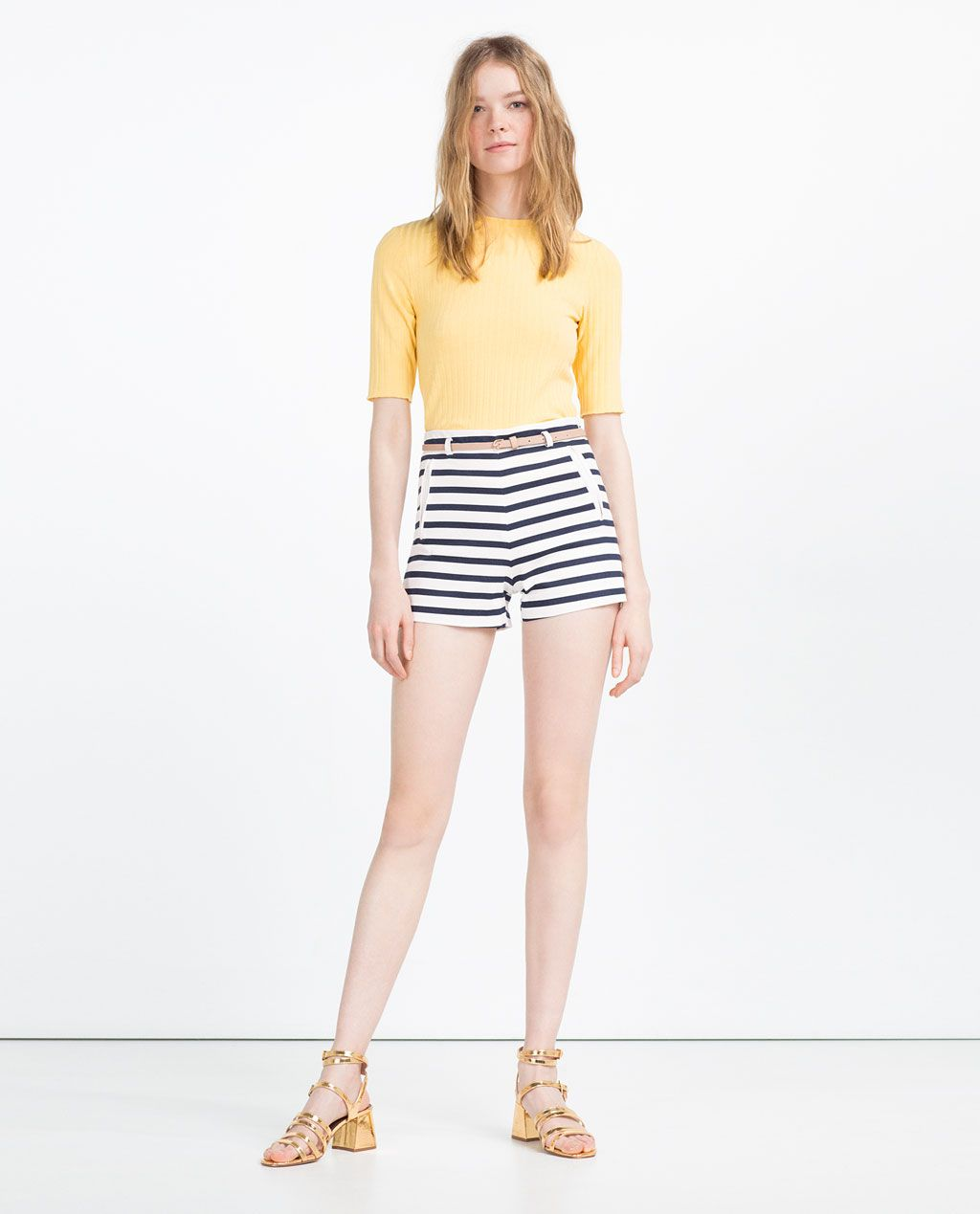 843fdda5a1 STRIPED BERMUDA SHORTS WITH BELT - Available in more colours   Just ...