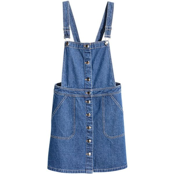 Denim Bib Overall Dress $34.99 ($35) ❤ liked on Polyvore featuring dresses, denim dresses, blue dress, short overalls, button dress and denim button dress