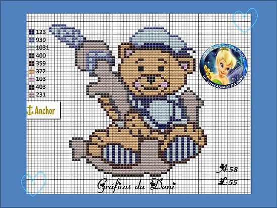 Ursinho - marinheiro - náutico | ponto cruz | Pinterest | Deckchen ...