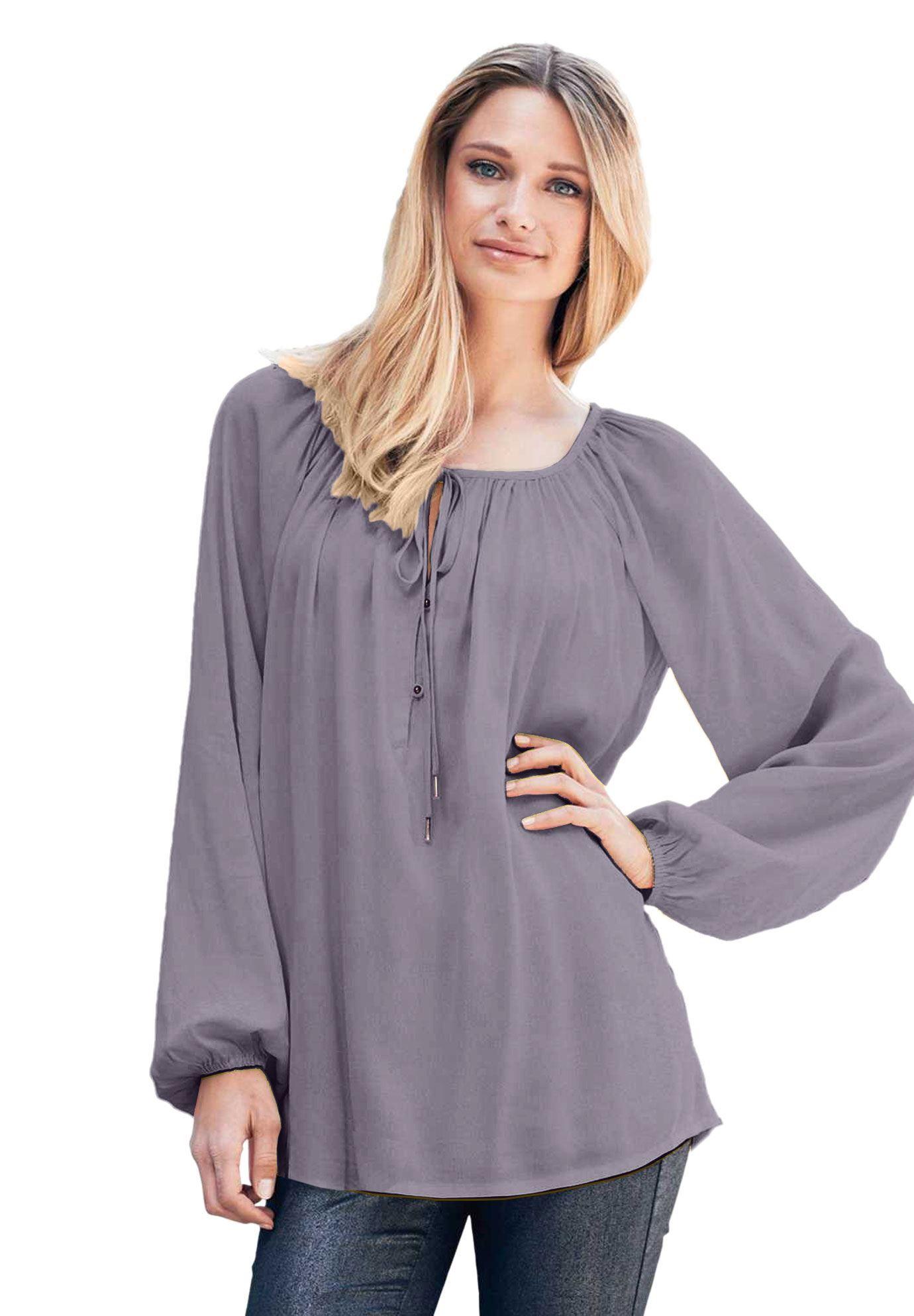 ab416630b8b Tie Neck Peasant Tunic by ellos - Women s Plus Size Clothing