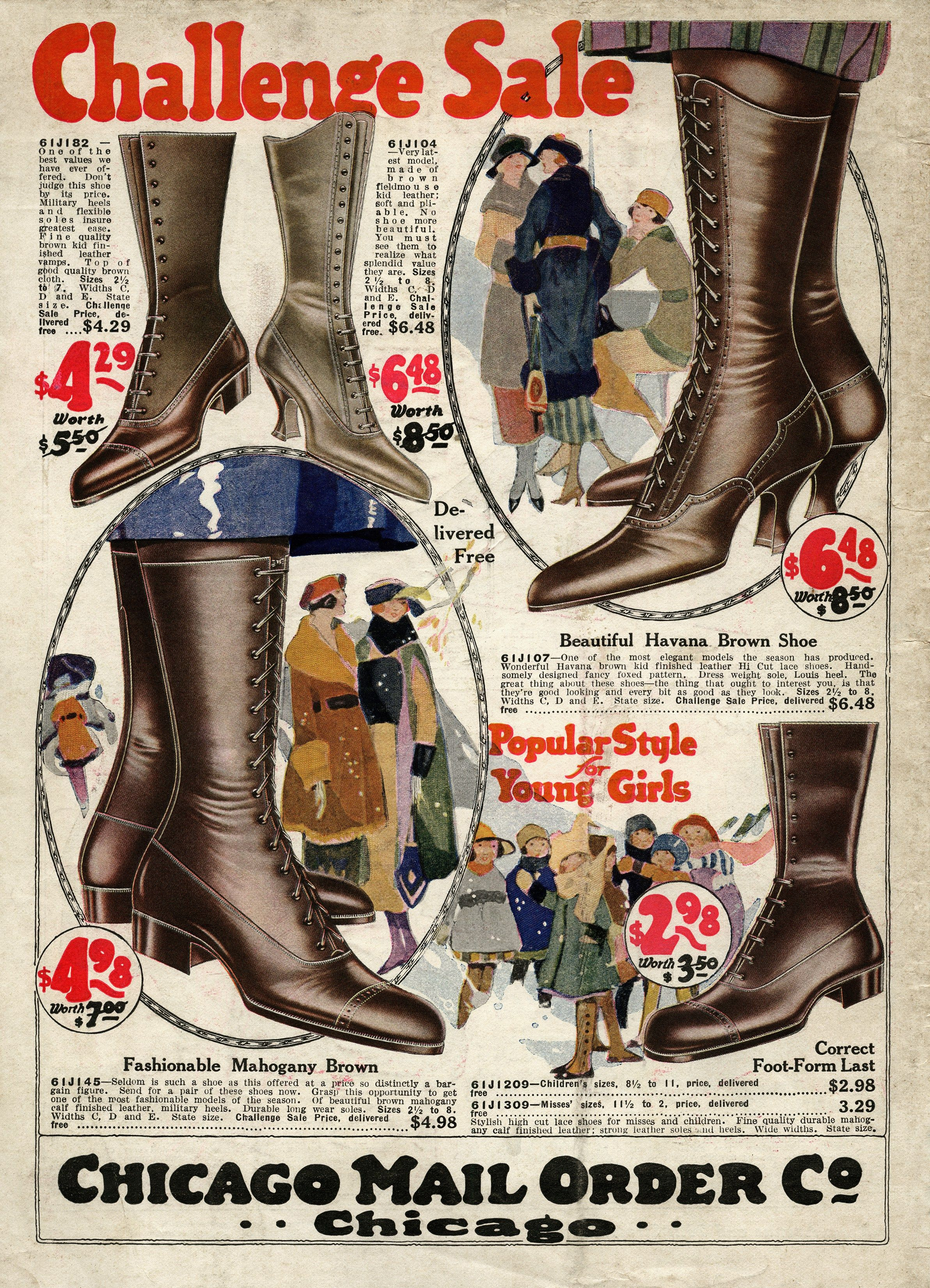 1920s fashion, Chicago mail order co, old fashioned boot