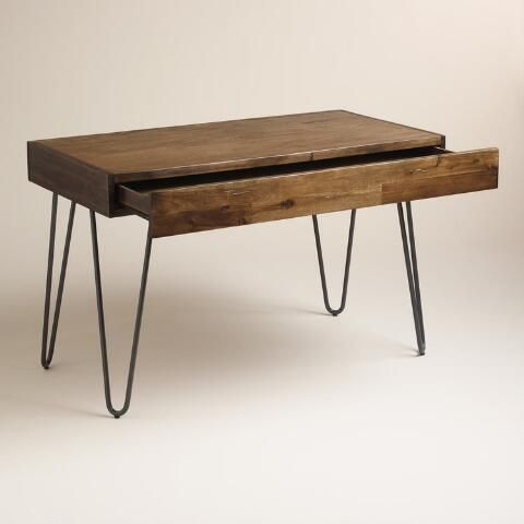 Simple And Stylish Our Sleek Hairpin Desk Features One Broad Drawer Four Black Metal Legs And