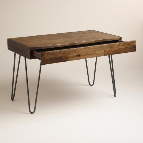 Wood and Black Metal Flynn Hairpin Desk Black metal Desks and