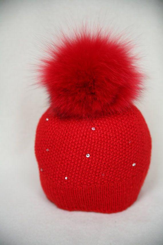 7e030dd1b7f Red Merino Wool Hat Fox Fur Pom Pom Red by HandmadeKnitsHats