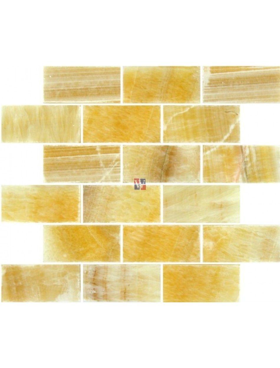 Buy 2x4x8mm Honey Onyx Subway Mosaic Yellow Tile Tile Backsplash Mosaic Mesh