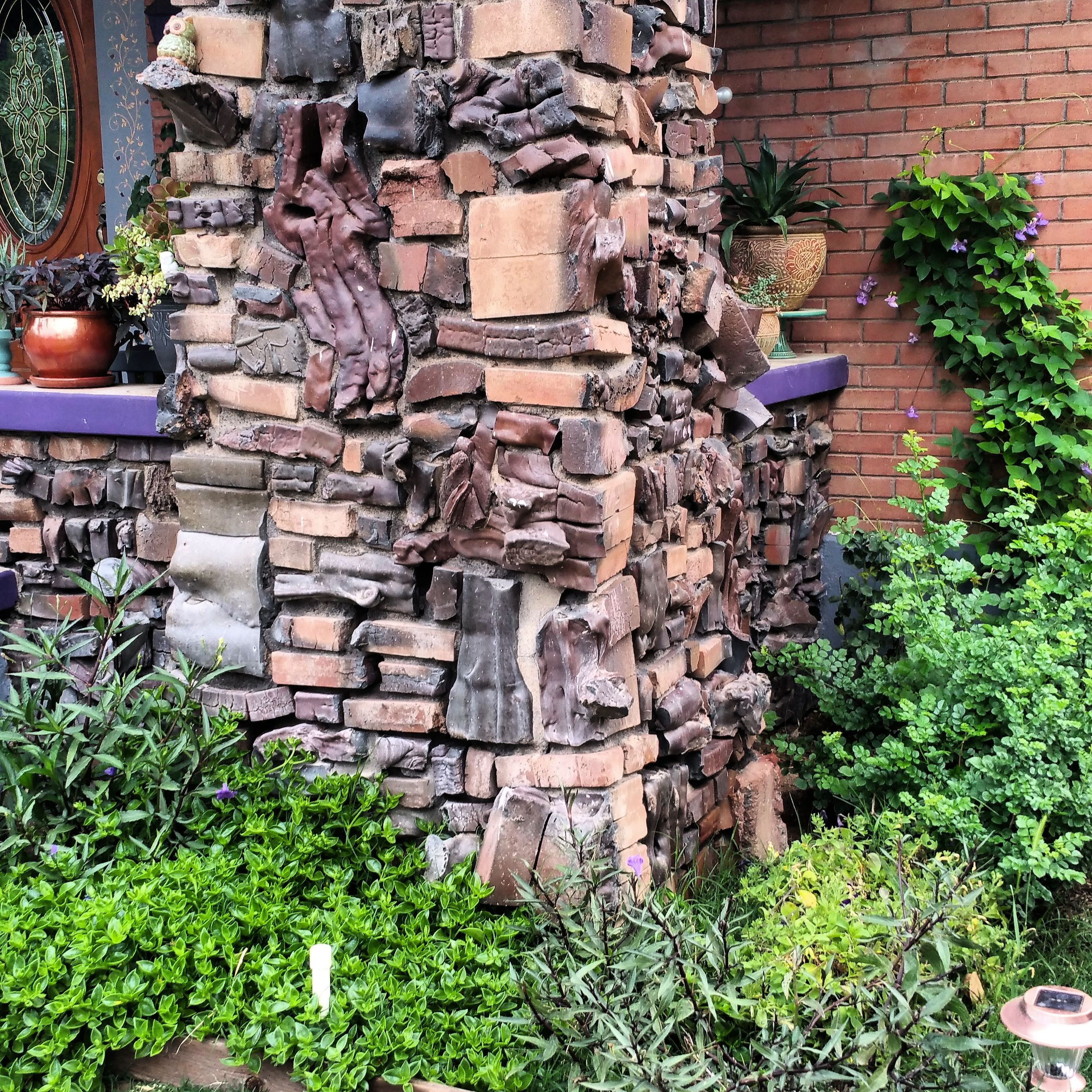 Rock wall drawing rock pillars the wall - Clinker Brick Column On Porch