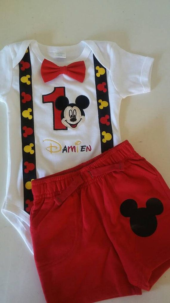 Mickey Mouse 1st Birthday Outfit.Mickey Mouse 1st Birthday Outfit By Jensbrooklynbowtique On