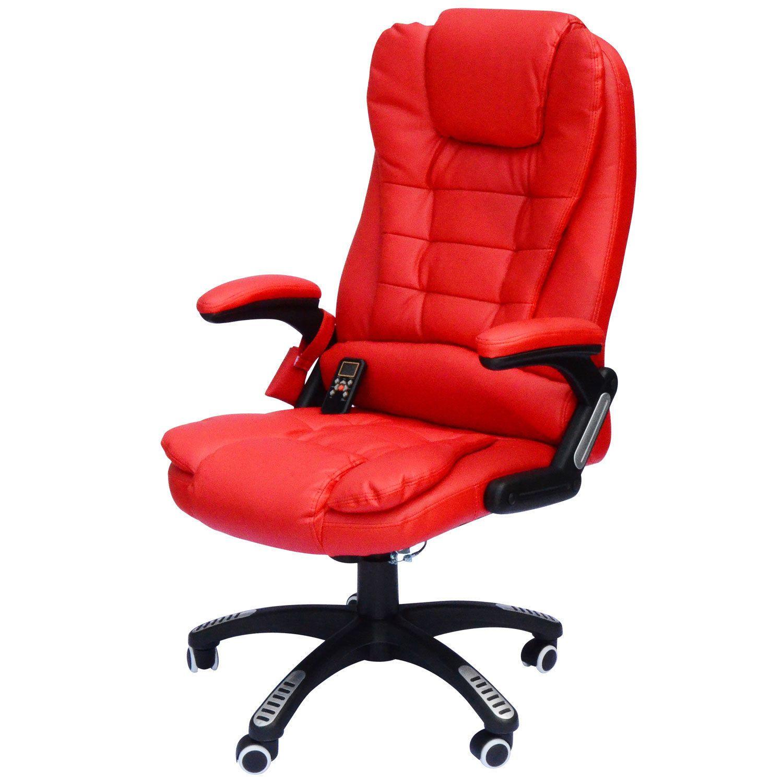 Executive Red Bonded Leather Ergonomic Heated Vibrating