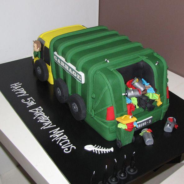Garbage truck Cake green Thats My Cake Cake Pinterest