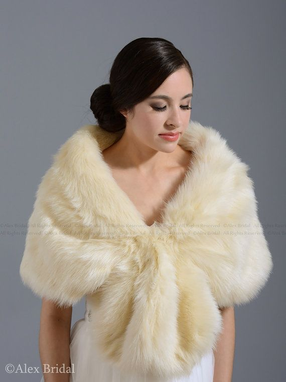 Champagne Faux Fur Wrap Bridal Shrug By Alexbridal 69 99