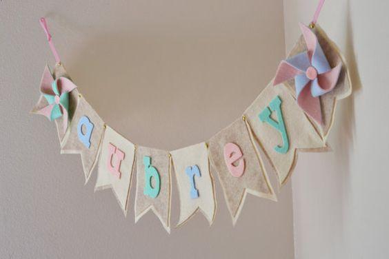 7 Adornos De Baby Shower Para Una Fiesta Especial Banderines Con Nombres Banners De Nombres Nombre De Telas