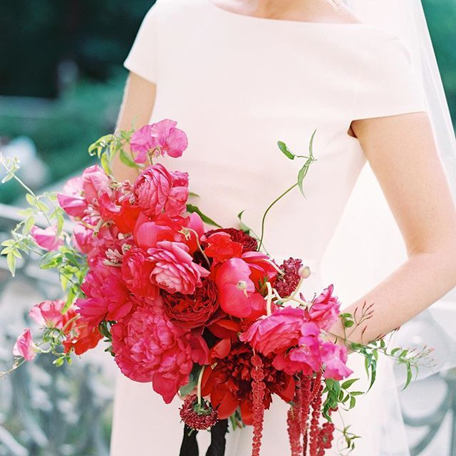 This Bride Held A Bouquet Of Peonies Scabiosa Sweet Peas
