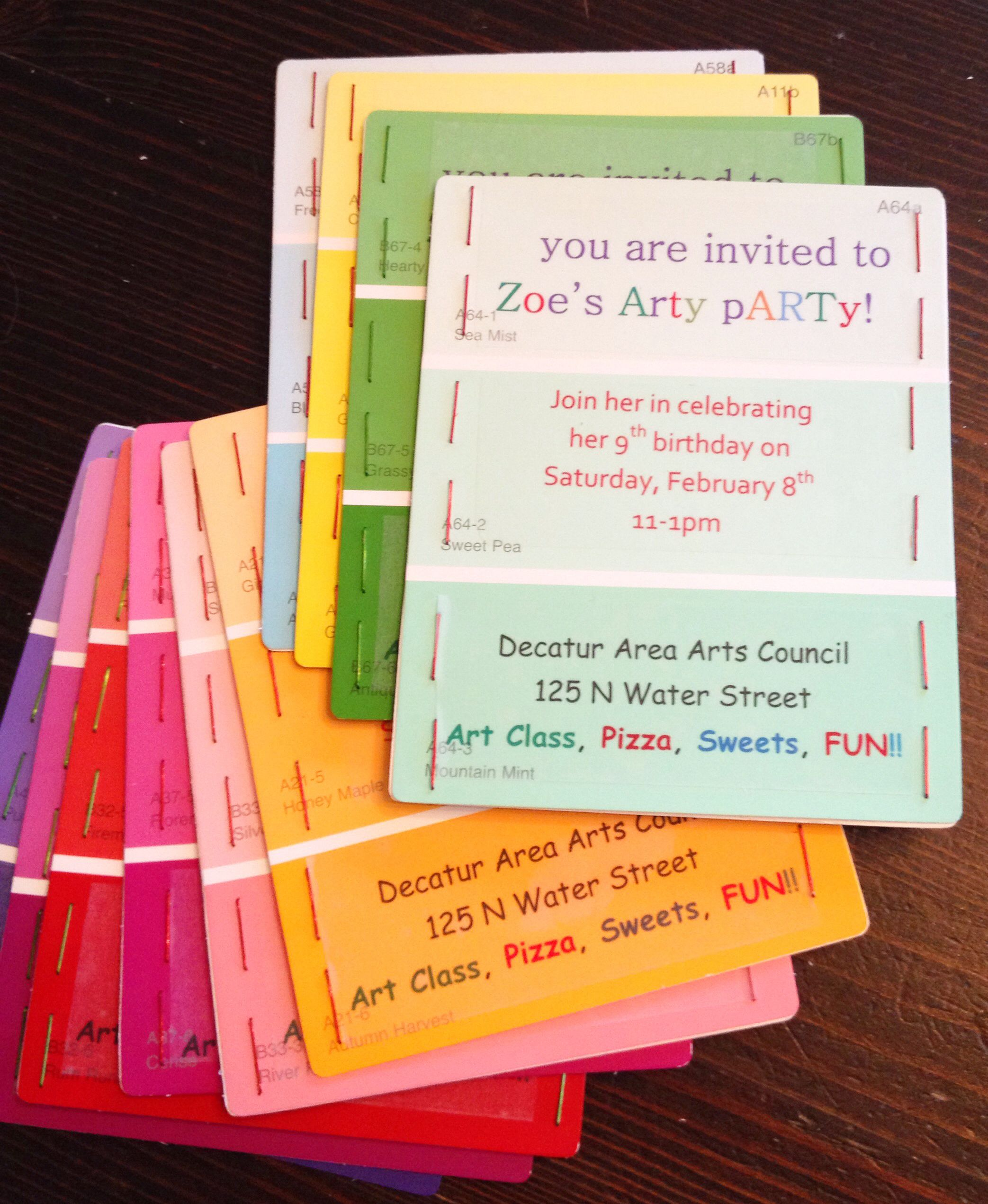 art party invite paint samples from lowe s 2 each and they are