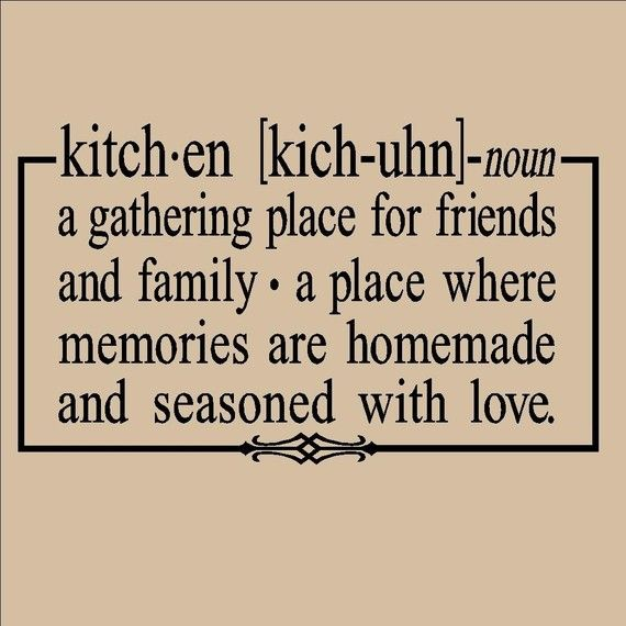 Kitchen noun definition vinyl lettering wall sayings decal for Kitchen design quotation