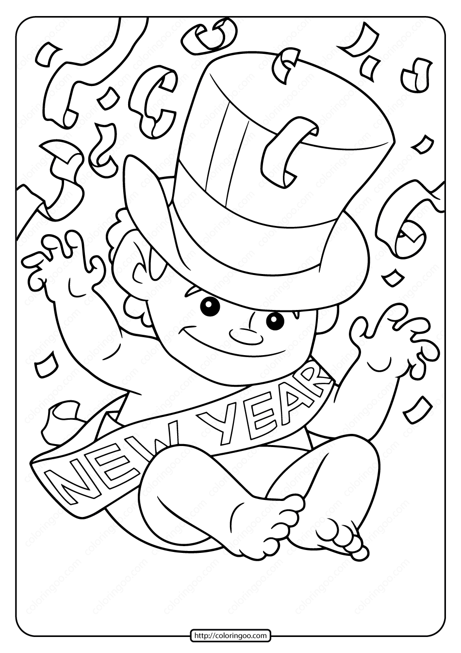 Free Printable New Year Baby Pdf Coloring Page New Year Coloring Pages Coloring Pages Baby Coloring Pages