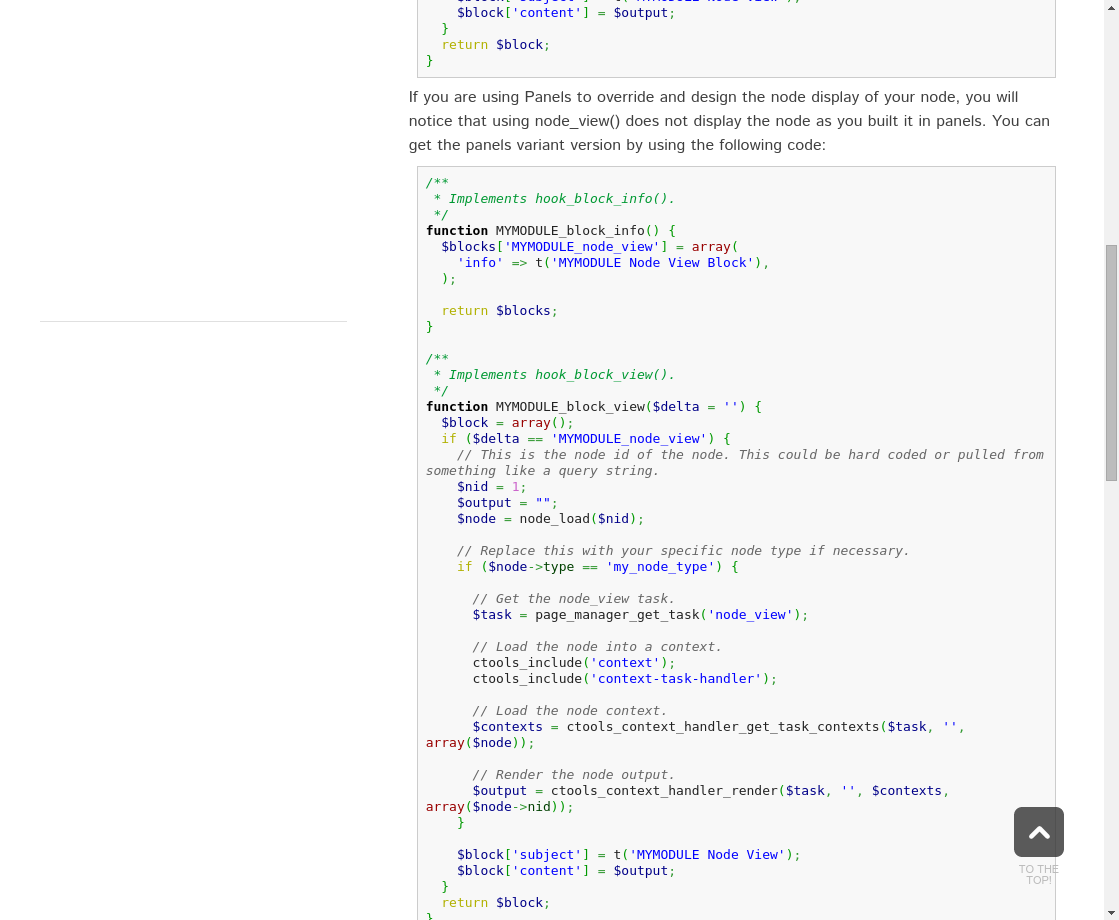 Embed Panel Node View in code