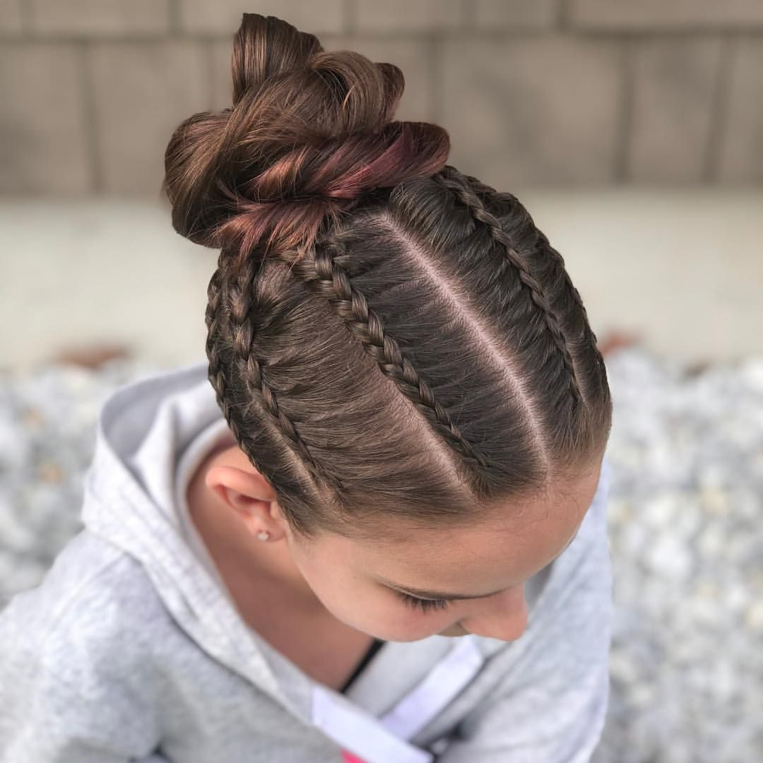 It Was Dance Class Last Night So A Bun Style Is Needed We Have Multiple Mini Lace Braids Into A Rope Twist Bun Happy May Lace Braids Girl Hair Dos
