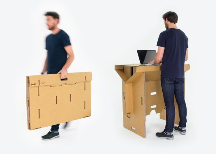 Refold Cardboard Standing Desk Is Portable And Recyclable