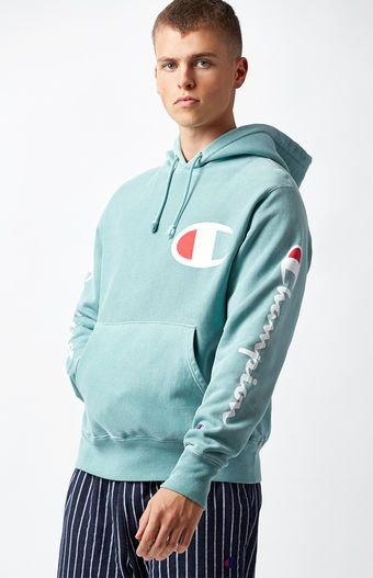 a92351fdc2726 Champion Pigment Dye Teal Pullover Hoodie at PacSun.com   Retro ...