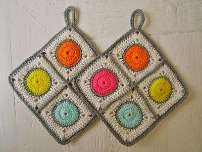 LOVE these crochet potholders | # Potholder ✩ Topflappen ✩ Presine ...