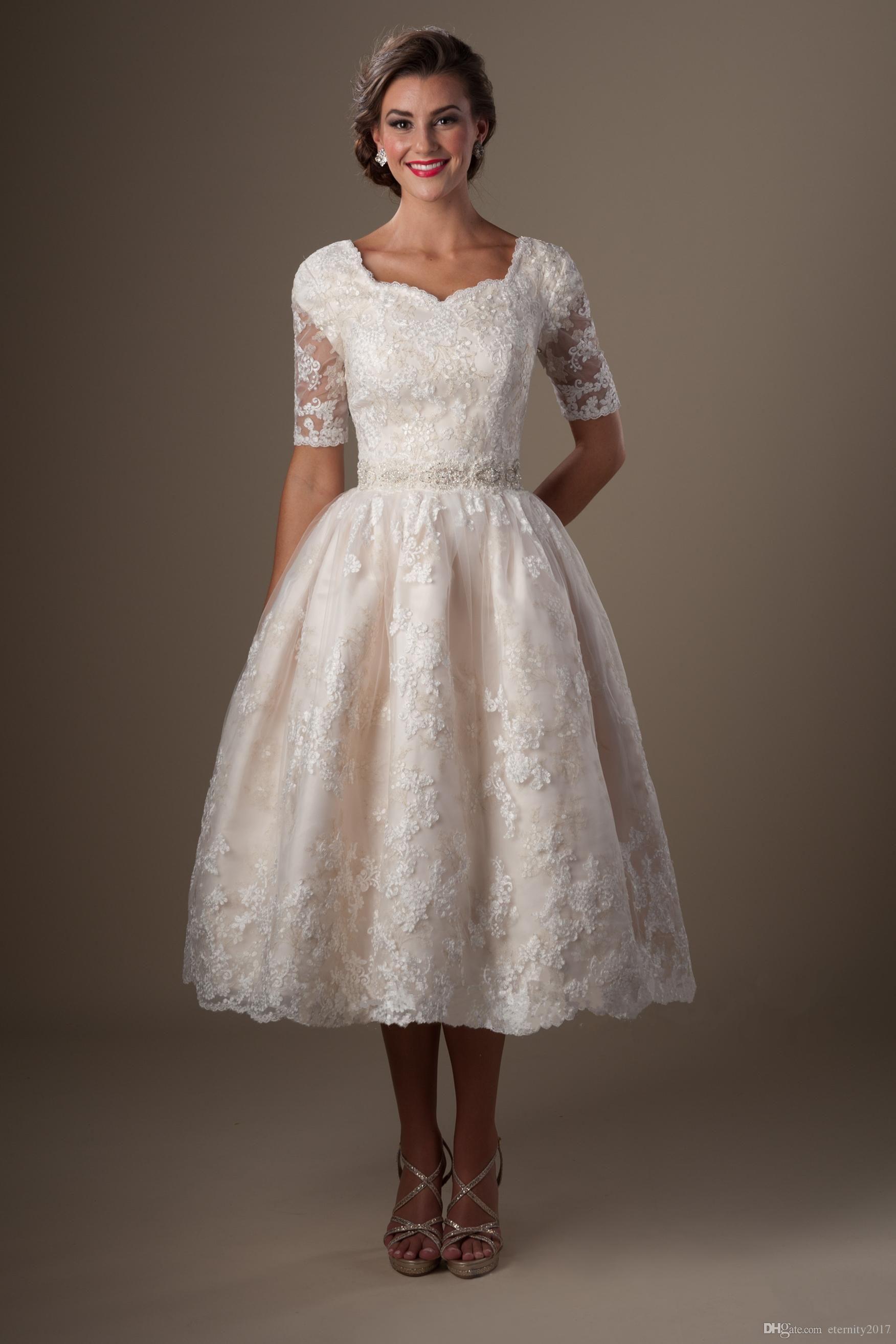 2017 vintage champagne lace tea length modest wedding