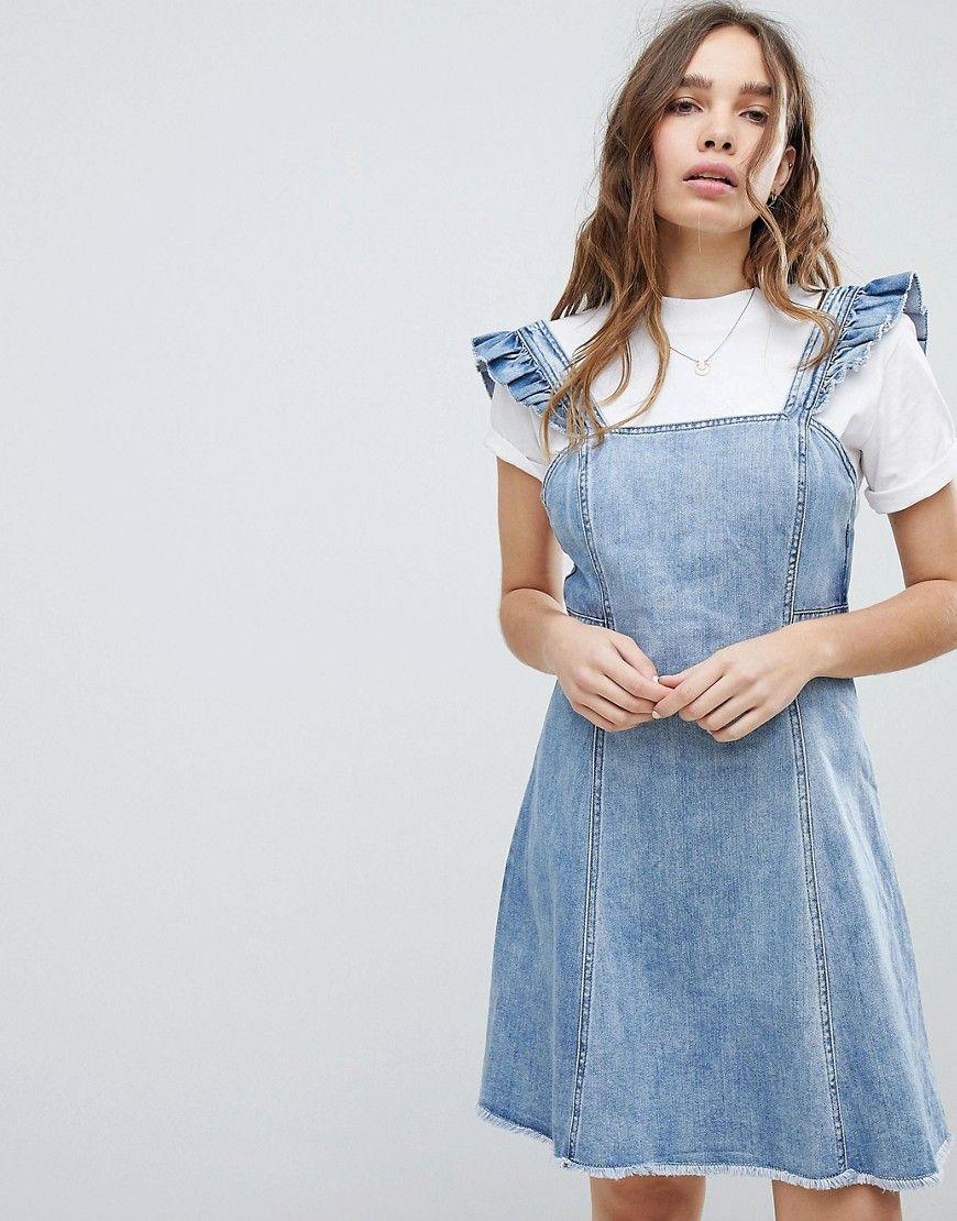 Ruffle Denim Pinafore Dress | Clothes, Pinafore dress, Denim