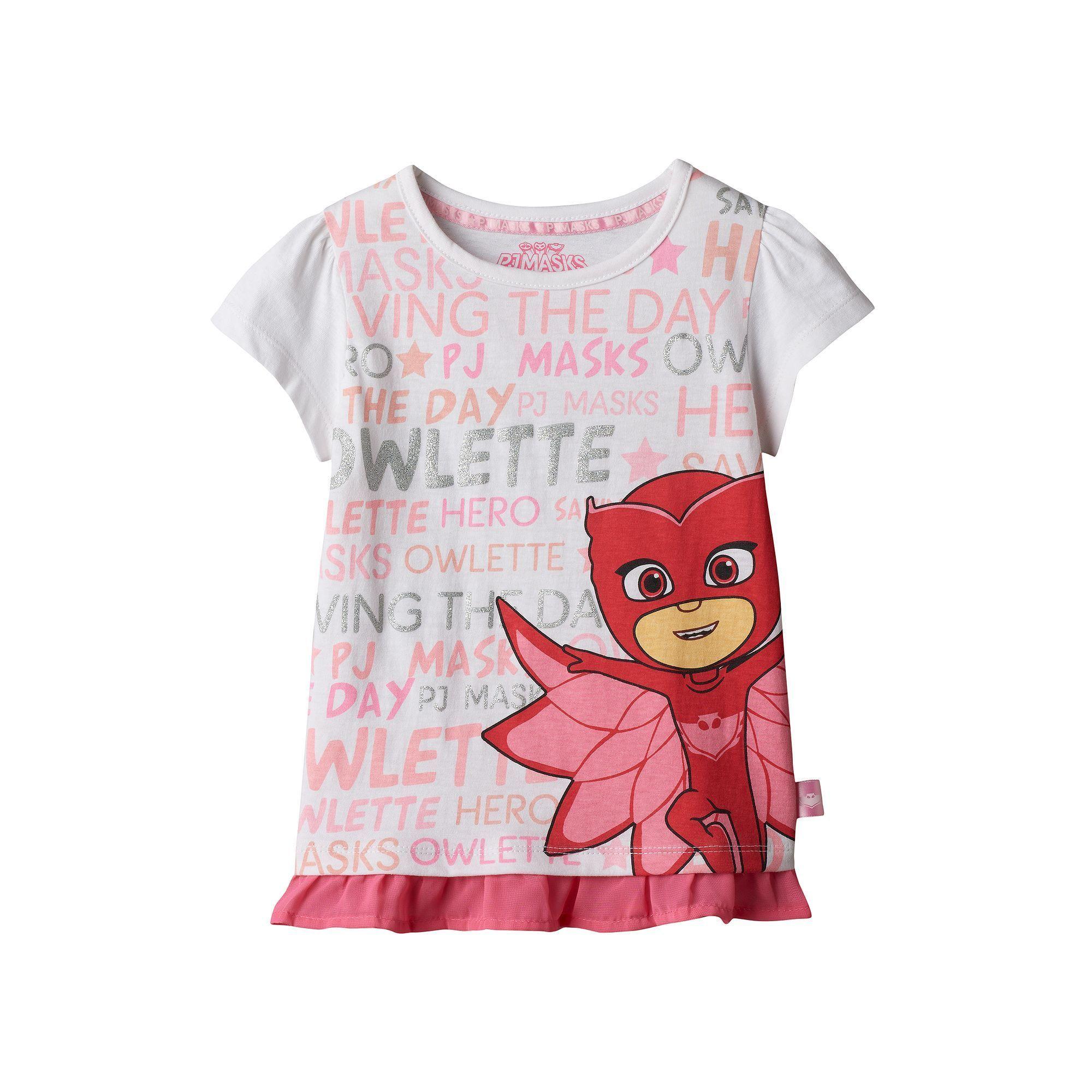 6e2678e10 Girls 4-7 PJ Masks Owlette Ruffled-Hem Tee, Girl's, Size: 6X, White