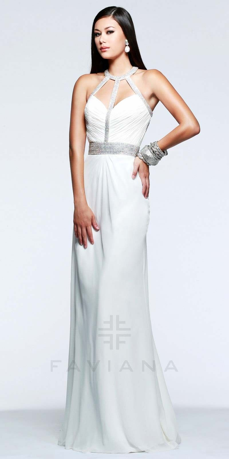 Grecian t strap prom dresses by faviana white dress pinterest