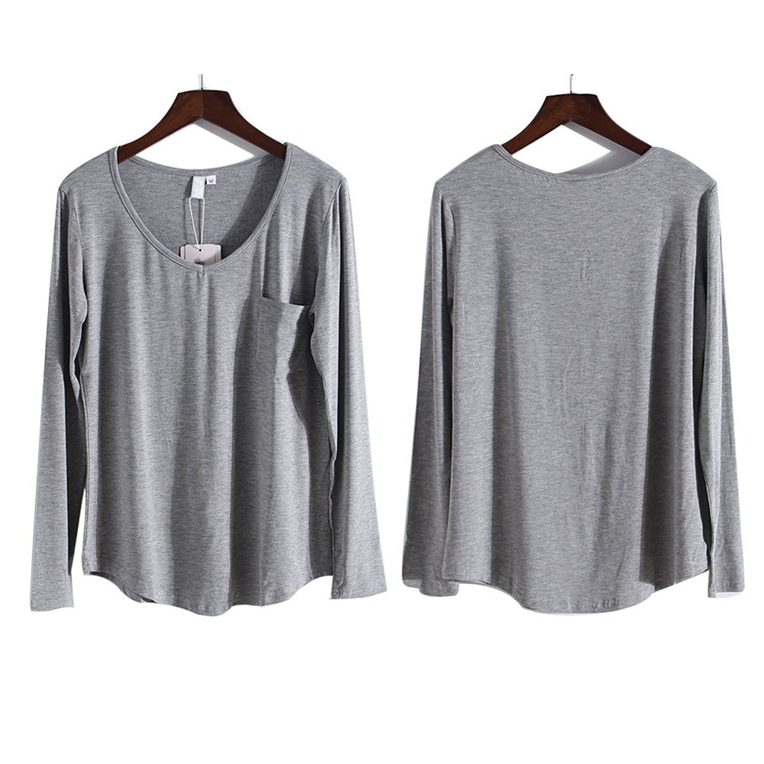 MandZ Basic Pure Color V Neck Long Sleeves T-Shirt with Pocket for Woman -- Check out this great image  : Plus size shirts