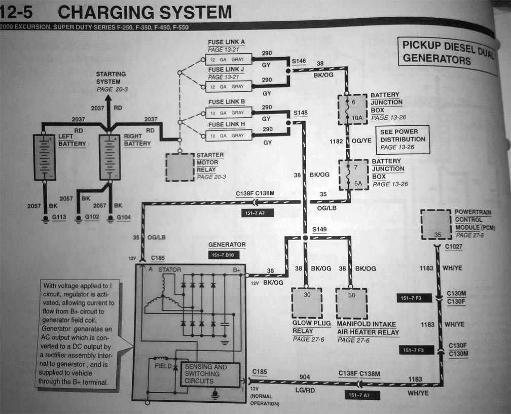 7.3 dual alternater install, any wiring diagrams out there? - ford ... |  diagram, powerstroke, engineering  pinterest