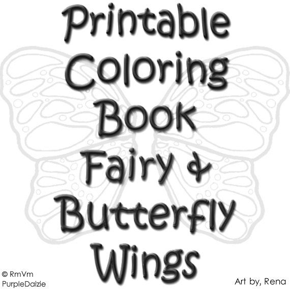 Printable Coloring Book Fairy Butterfly Wings 24 Beautiful Color Pages For Adults Children Of All