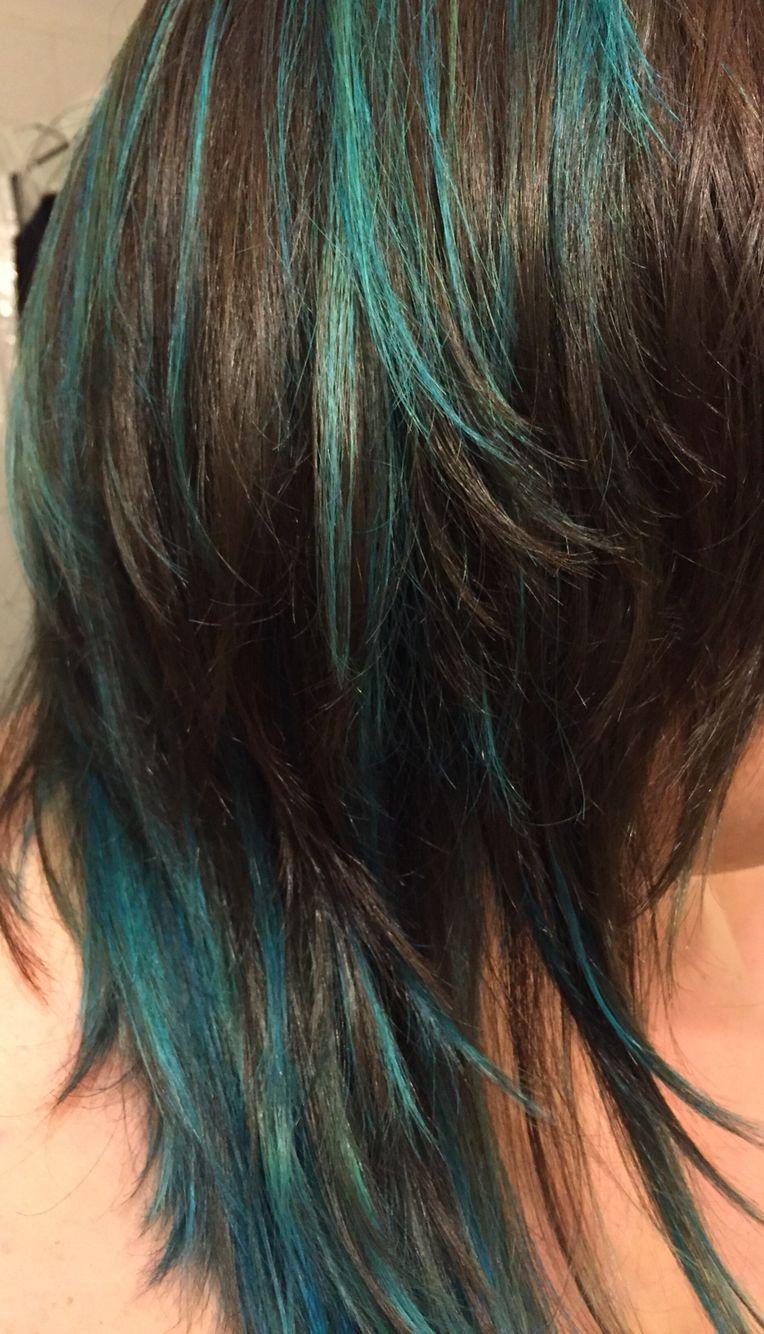Turquoise Teal Blue Highlights Hair Love Hair Highlights Blue Hair Light Blue Hair