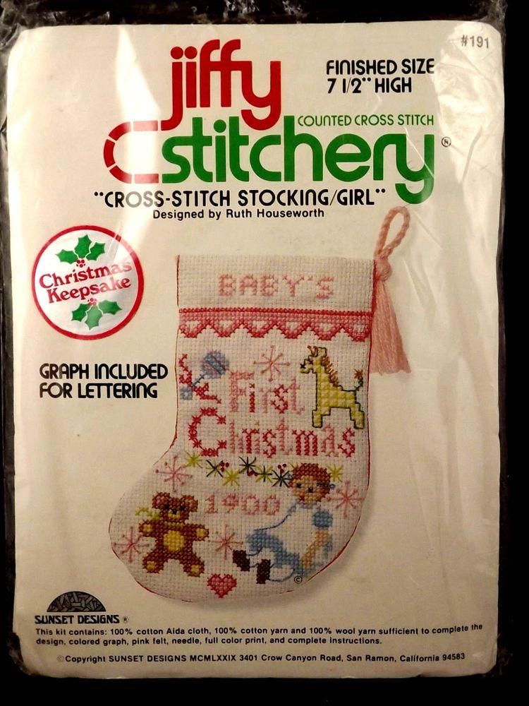 Jiffy Cross Stitch Stocking Kit Babys First Christmas Girl  Ruth Houseworth Sunsetdesignsjiffystitchery