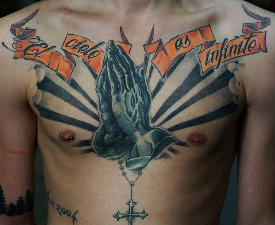 #tattoostudio #nadelwerk #blackandgrey #chest #pray #hand ...