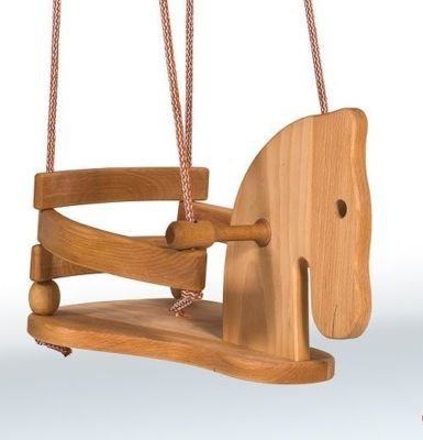 Wooden horse swing for baby toddler handcrafted beech wood for Child swing plans free