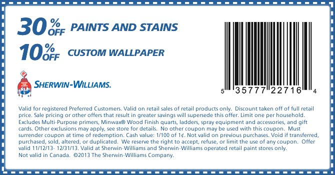 photo about Sherwin Williams Printable Coupon identified as Sherwin Williams Coupon Paint for the Area! Sherwin