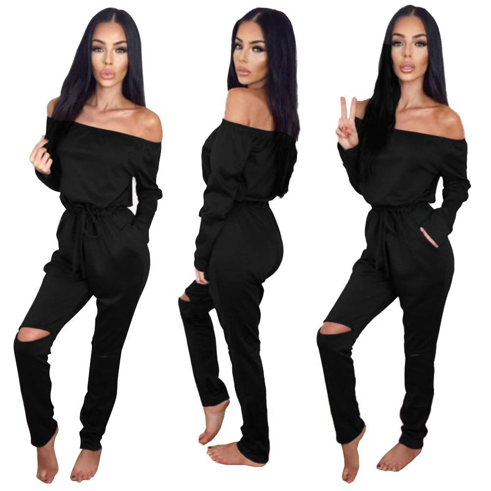 c70879a66c Longwu Women s Fashion Off-Shoulder Drawstring Jumpsuits Rompers Knee Hole  Pants Black-S