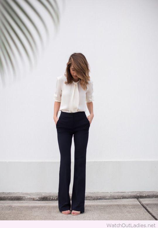Black pants, white blouse for office