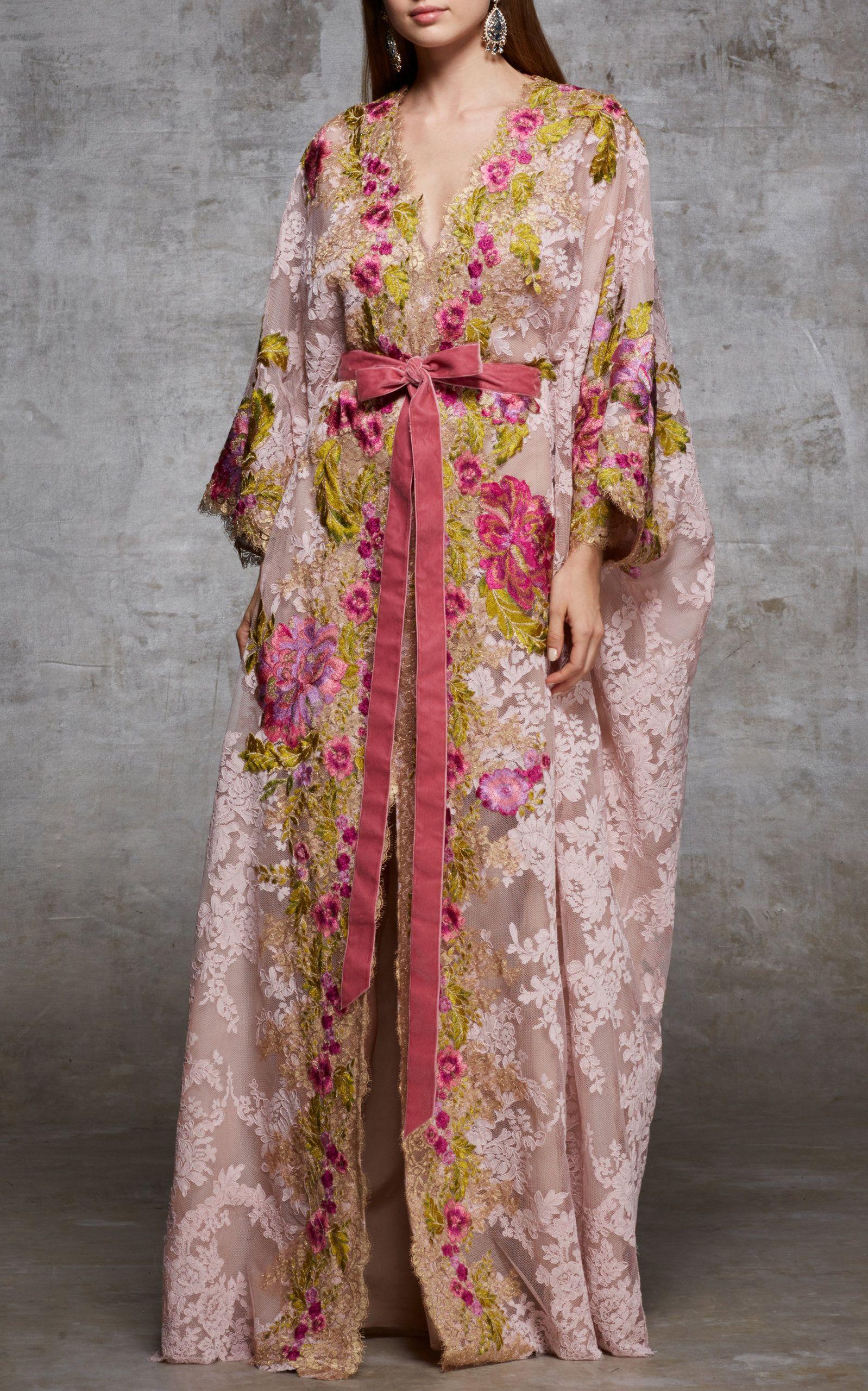 Lace Beaded Caftan Marchesa 100% Original Exclusive For Sale Sale Outlet Store YkLQT