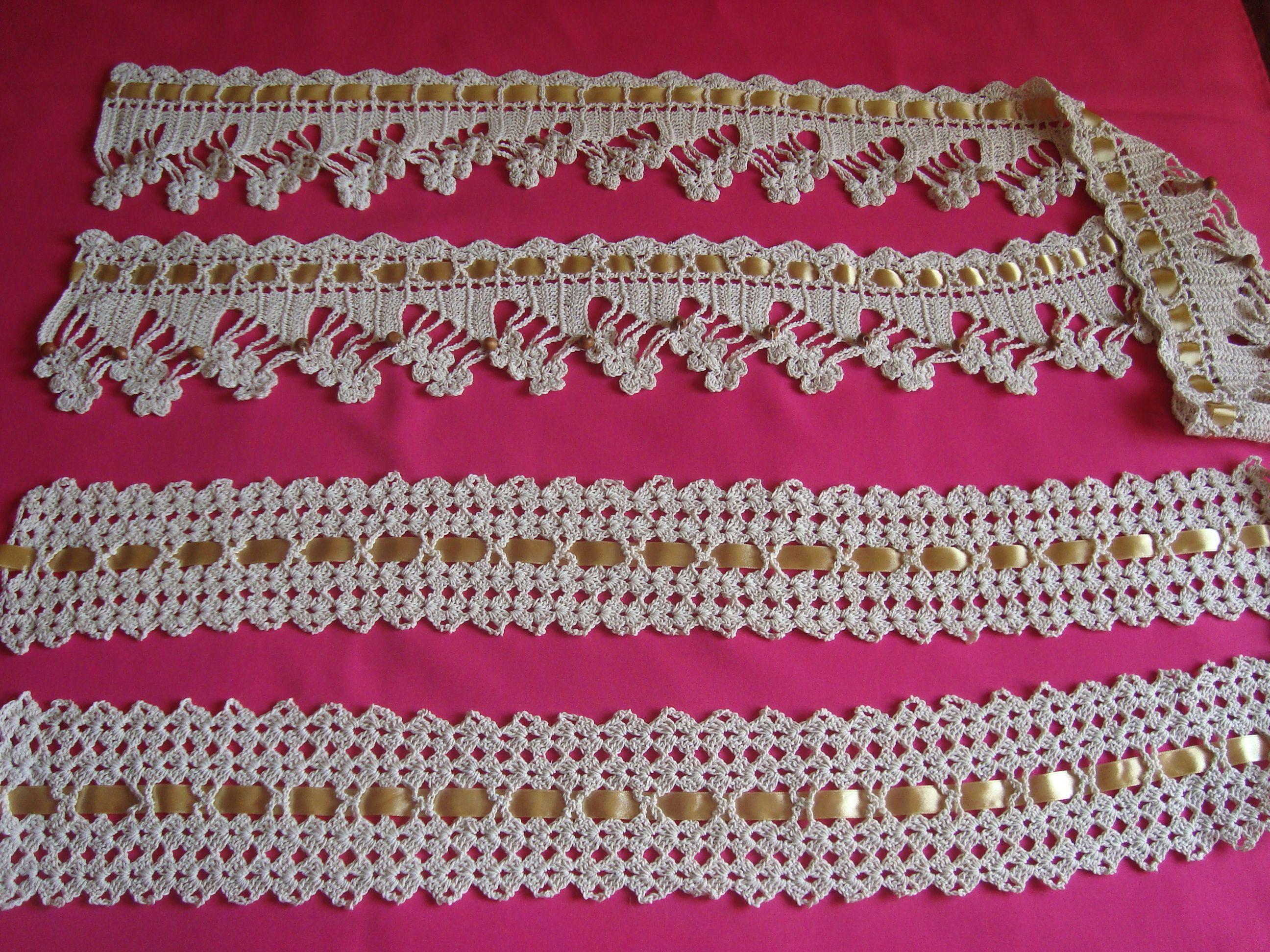 Puntillas tejidas a crochet para aplicaciones en toallas - Aplicaciones de crochet para colchas ...