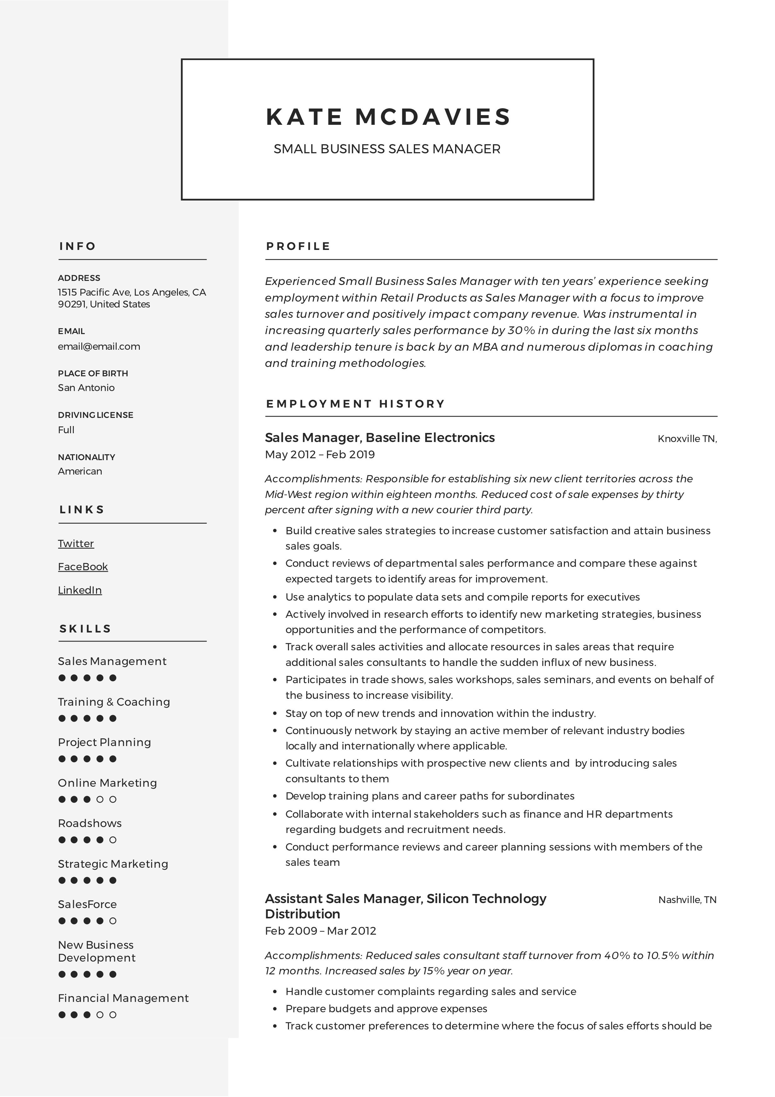 Guide Small Business Sales Manager Resume [x12] Sample in