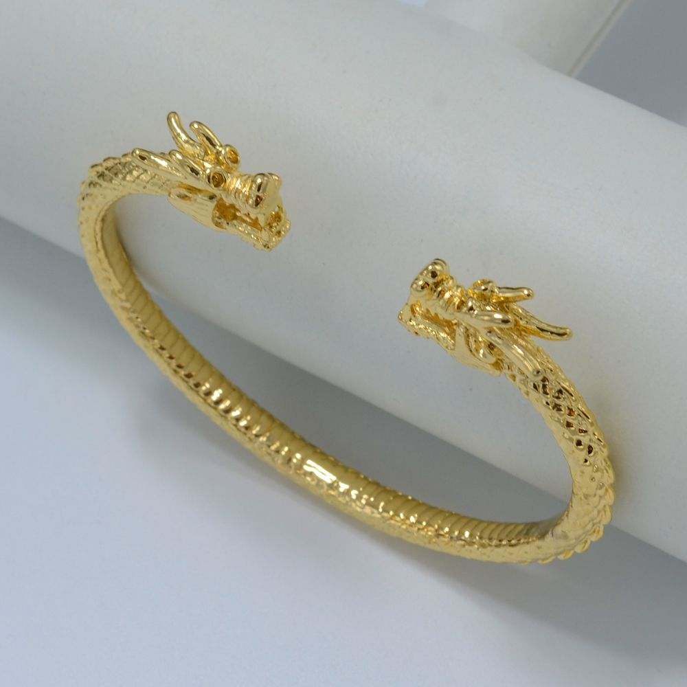 Dragon bracelet for men women gold plated bangle woman for Dragon gifts for men