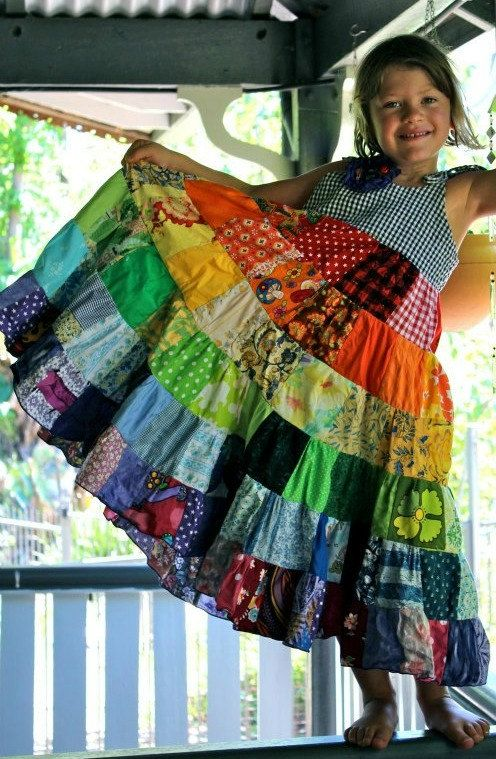 2ad3b578daa Rainbow dress patchwork twirly twirler bright eco children sundress custom  upcycled size 4 - 10 made to measure CUSTOM ORDER.  85.00