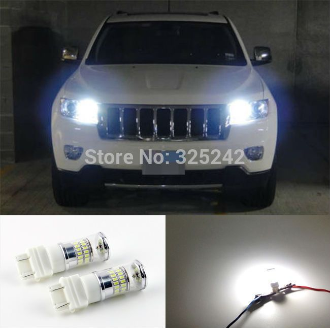 For Jeep Grand Cherokee 2011 2012 With Hid Headlights Excellent Xenon White Reflector 3157 Led Bulbs Day Grand Cherokee 2011 Jeep Grand Cherokee Hid Headlights