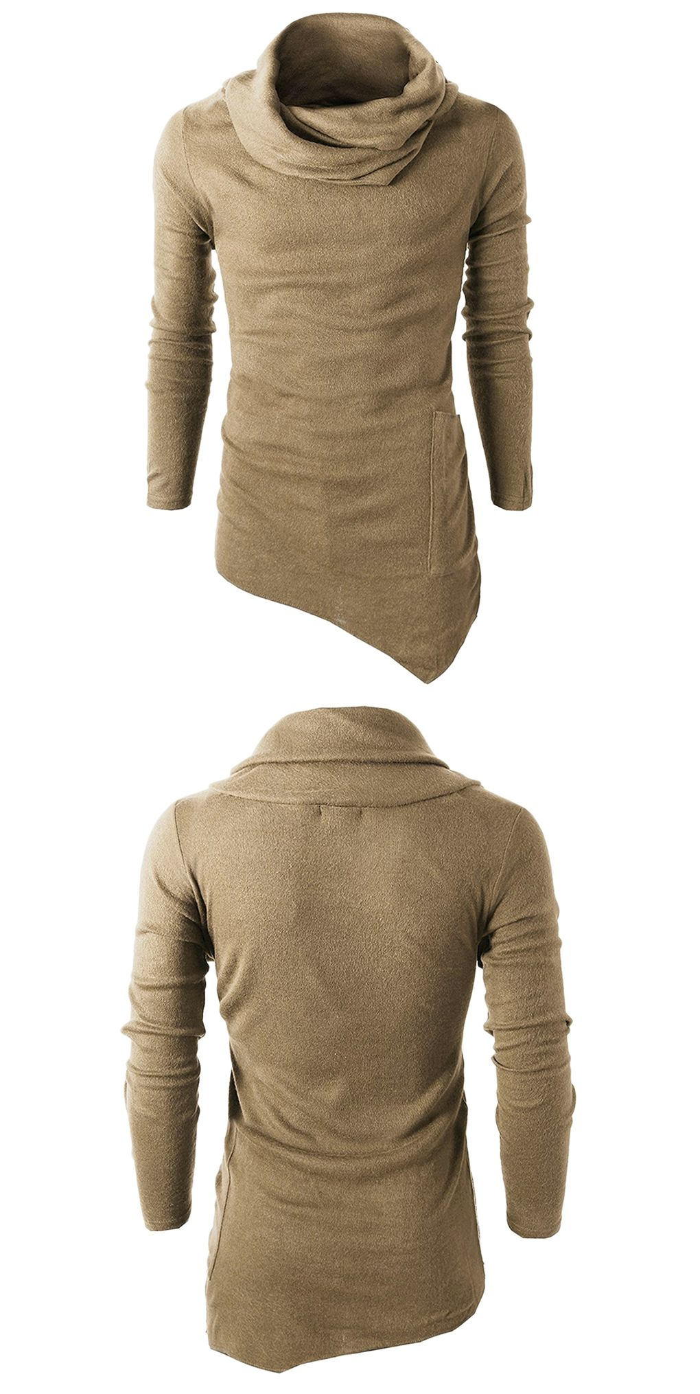 3da10323b7f1 Cowl Neck Pocket Asymmetrical Sweater - Khaki 2xl   combinaciones ...