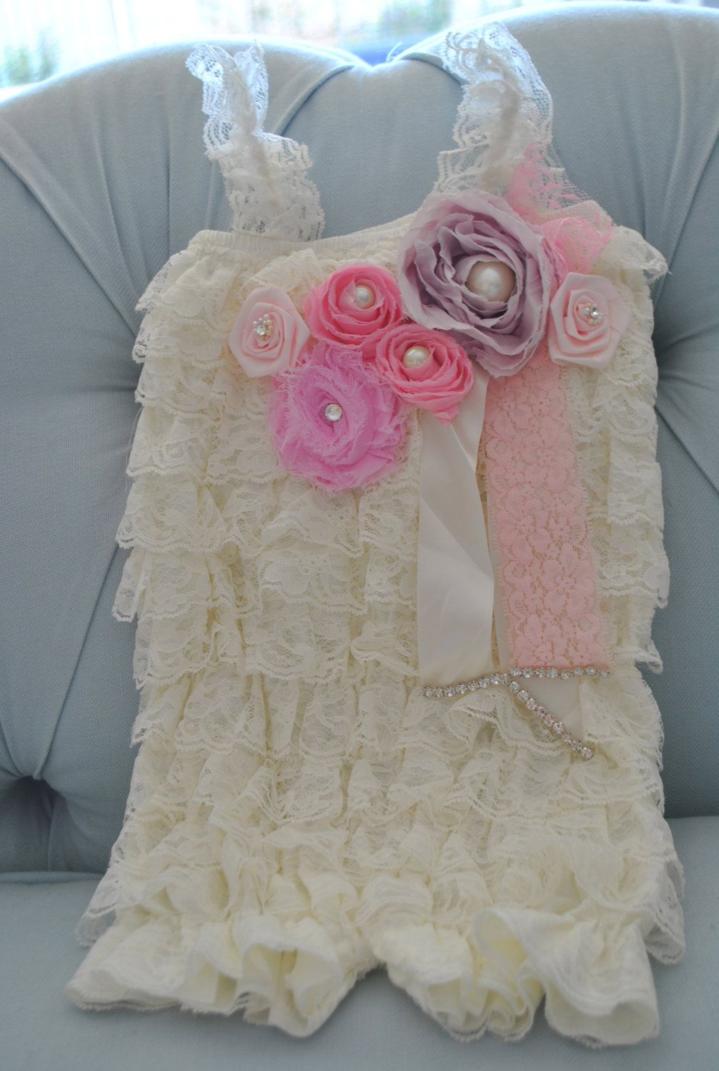 46505b0e7 Lace Baby Romper - Girl Romper - Adorned with Pink Medley of Flowers ...