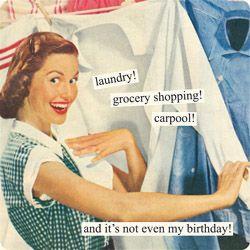 Lavar! Compra de comestibles! Compartir el auto! Y eso que no es mi cumpleaños!