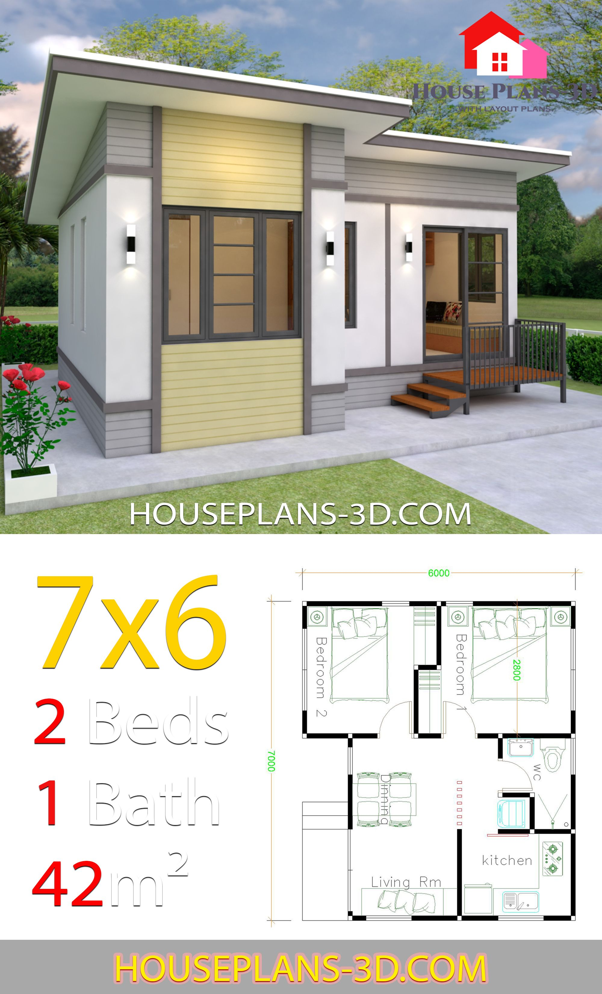 Small House Plans 7x6 With 2 Bedrooms Small House Design Plans